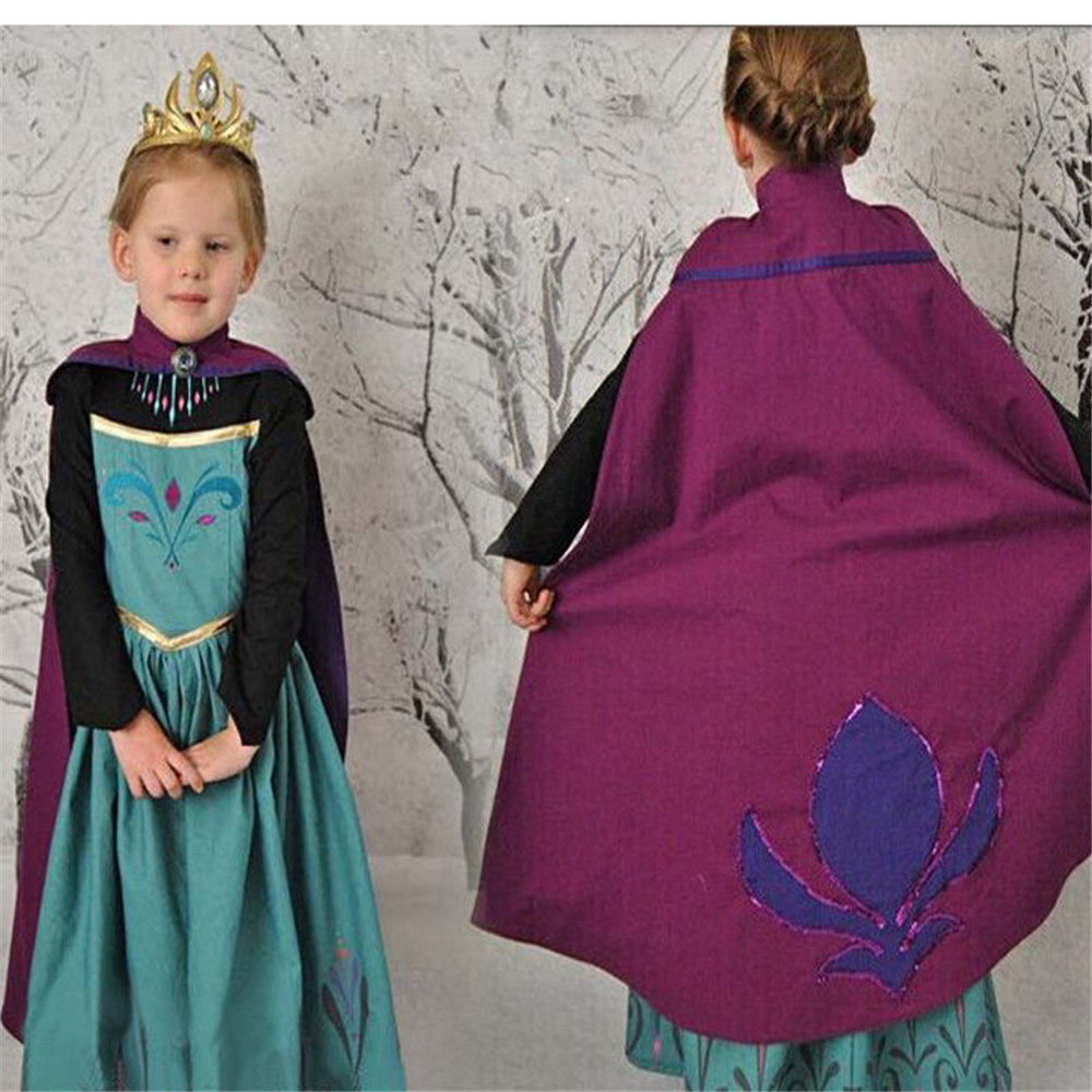 Girls Dress Princess Dress with Cape Children Dresses Anna Elsa Cosplay Costume Kids Christmas Party Dress Baby Girls Clothes elsa dress sparkling snow queen elsa princess girl party tutu dress cosplay anna elsa costume flower baby girls birthday dresses