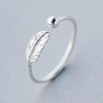 Kinitial Simple Leaf Feather Rings Leaf Bird Feather Open Adjust Ring Christmas Minimalist Jewelry for Women Girls Charm Gift 1