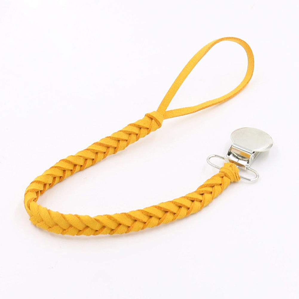 Leather Braided Dummy Clip Outdoor Tool Baby Feeding Long Anti-lost Solid Home Pacifier Chain Soother Accessories Holder Infant