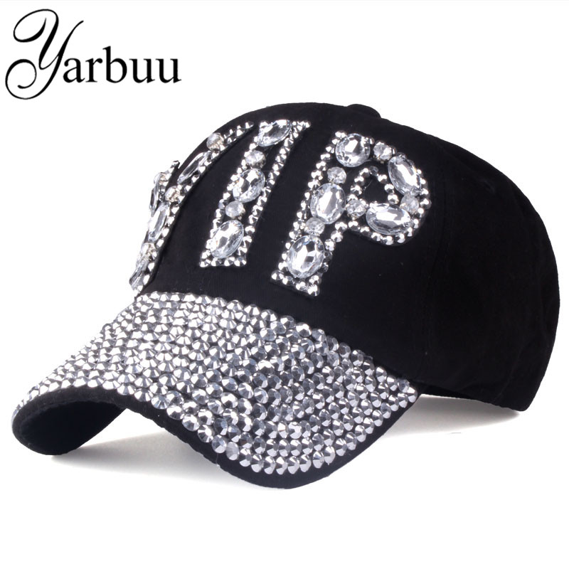 [YARBUU]CAP Wholesale 2017 Hat Rhinestone Print Denim hat Rivet Sun-Shading VIP Baseball ...