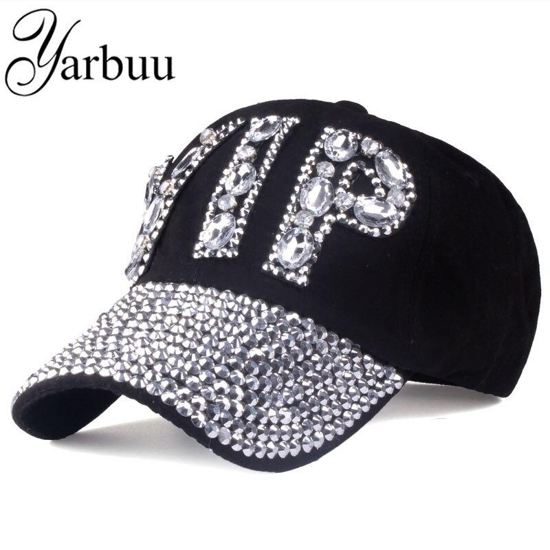 [YARBUU]  CAP   Wholesale 2017 Hat Rhinestone Print Denim hat Rivet Sun-Shading VIP   Baseball   Summer Women's   Cap   Jean   Caps   hip hop