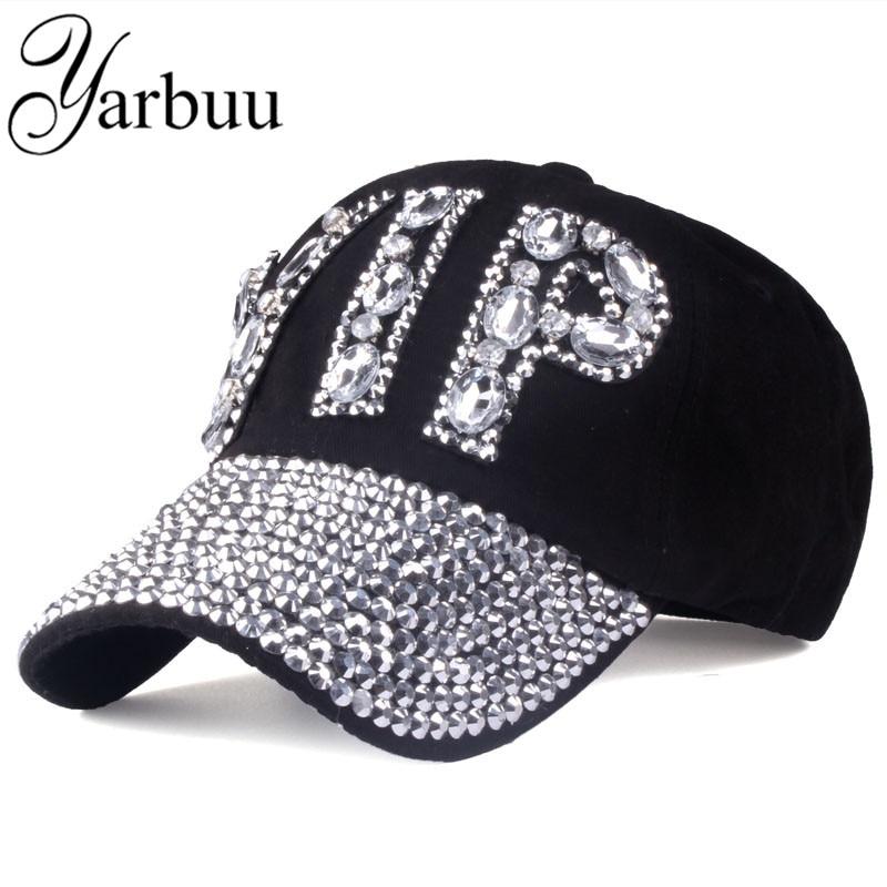 Prix pour [YARBUU] CAP En Gros 2017 Chapeau Strass Impression Denim chapeau Rivet Soleil-Ombrage VIP Baseball D'été de Femmes Jean Cap Casquettes hip hop