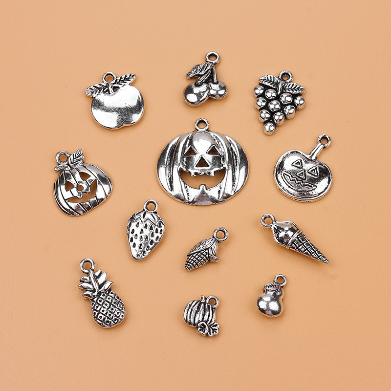 12pcs fruit mixed model charms pendants alloy Antique Silver Jewelry DIY Fit Bracelet Necklace Anklet jewelry accessories