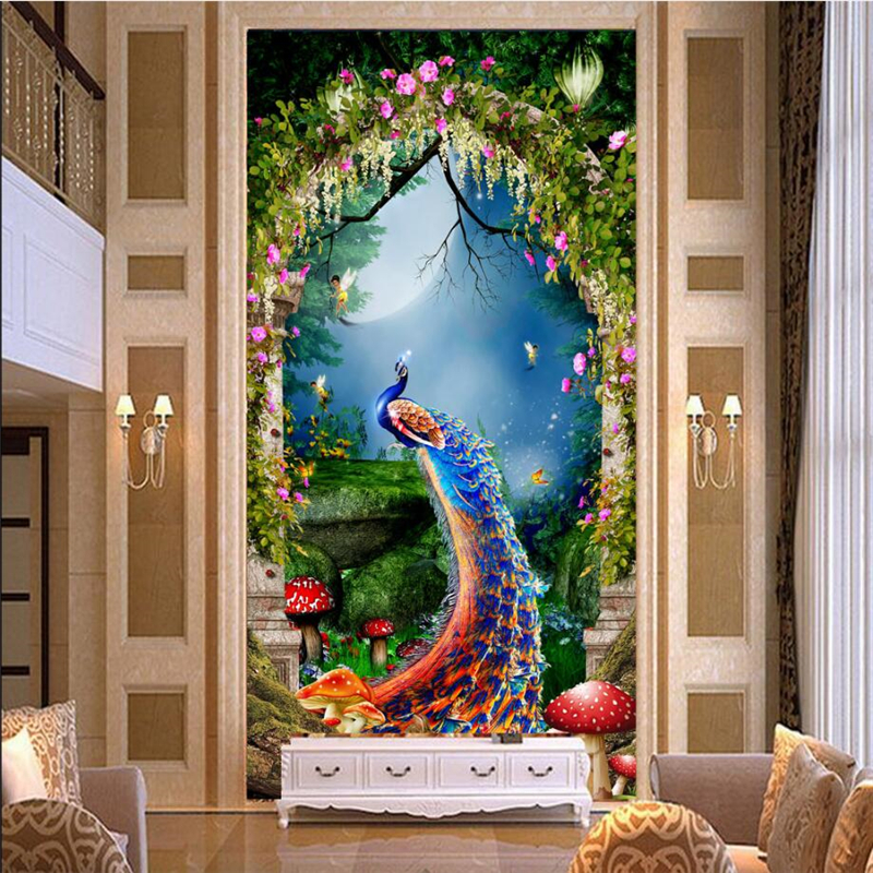 beibehang wallpaper wall murals wall stickers fairy tale dream forest peacock mystery papel de parede wallpaper for walls 3D beibehang custom wallpaper giant mural painting super aesthetical dream forest moonlight whole house wall murals papel de parede