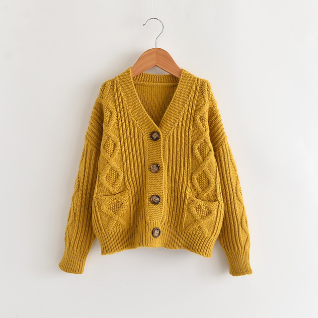8259d0b7a Knitted Cable Sweater For Girls And Boy Kids Unisex V Neck Cardigan ...
