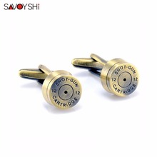 SAVOYSHI Brand Jewelry Fashion Bronze Bullet Cufflinks for Mens French Shirt Cuff buttons Wedding High Quality Round Cufflinks