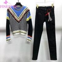 Модные осенние Для женщин женские наборы 2018 зима Для женщин в полоску клетчатый комплект свитер и штаны теплый комплект из 2 частей Для женщ
