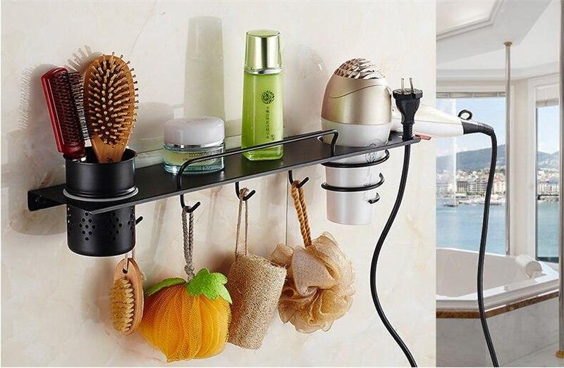 Secador de Cabelo Rack de Cozimento Preto Pintado de Hardware Banheiro