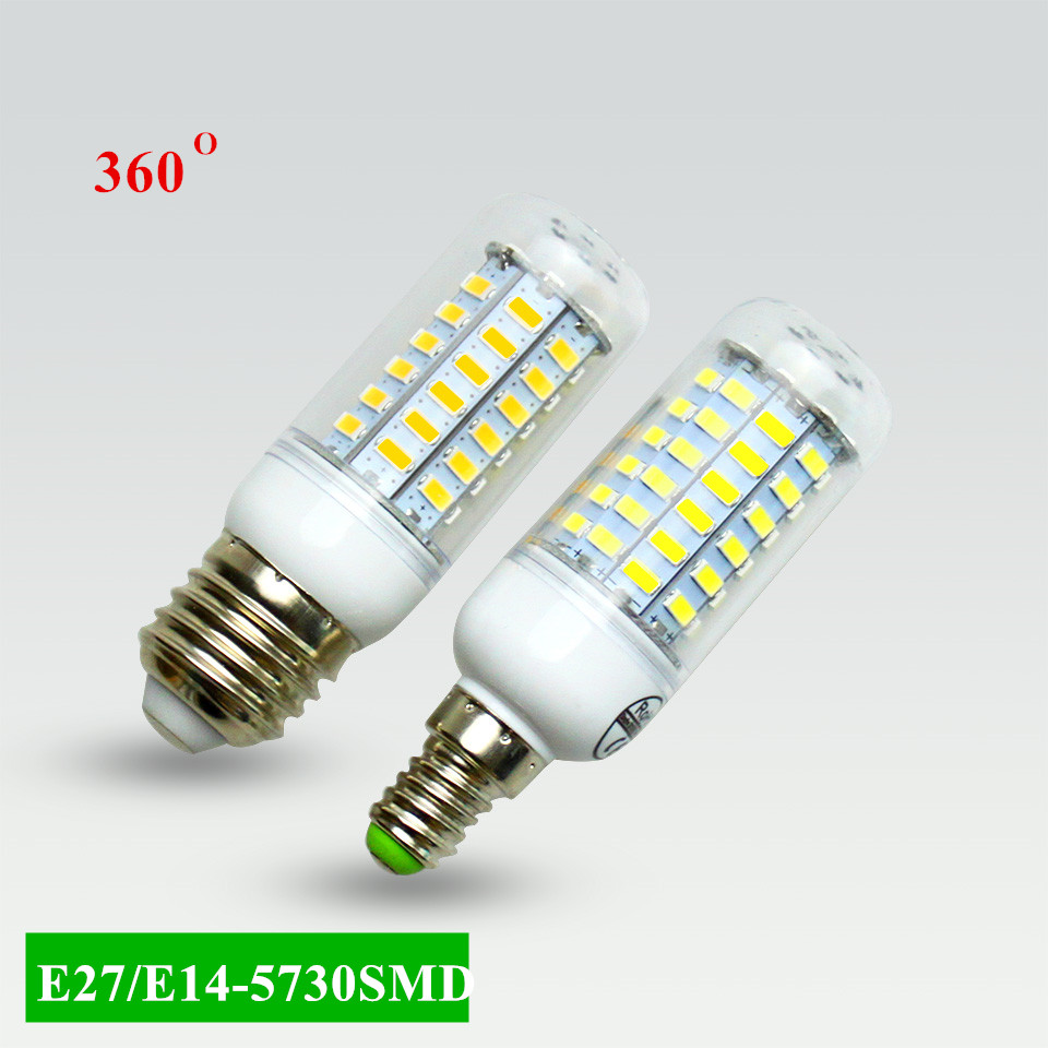 Super LED Bulb E27 E14 220V SMD 5730 LED Lamp 24 36 48 56 69leds AC 230V 5730SMD LED Corn Bulb light Chandelier AC200-240V