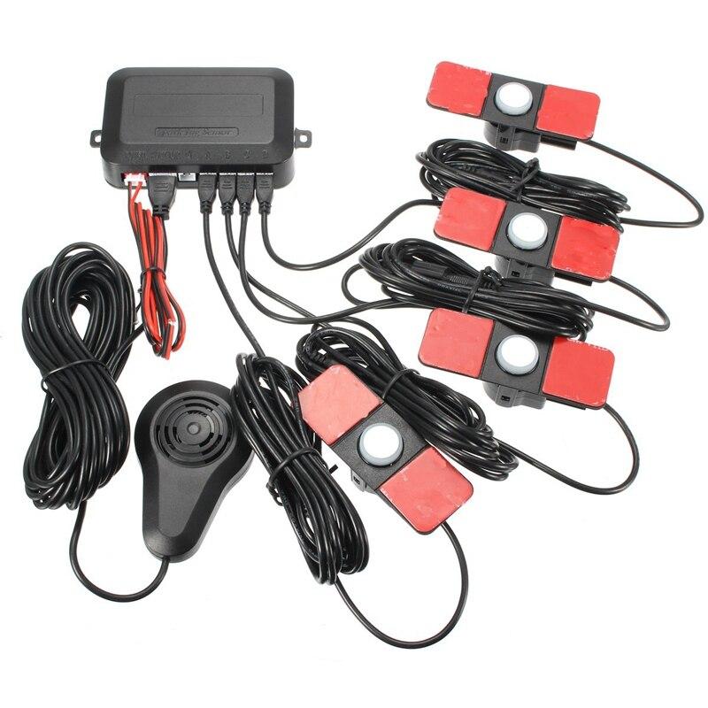 12V Car Parking Sensors 4 Black 13mm Flat Sensors Reverse Backup Radar Sound Buzzer Alarm Adjustable