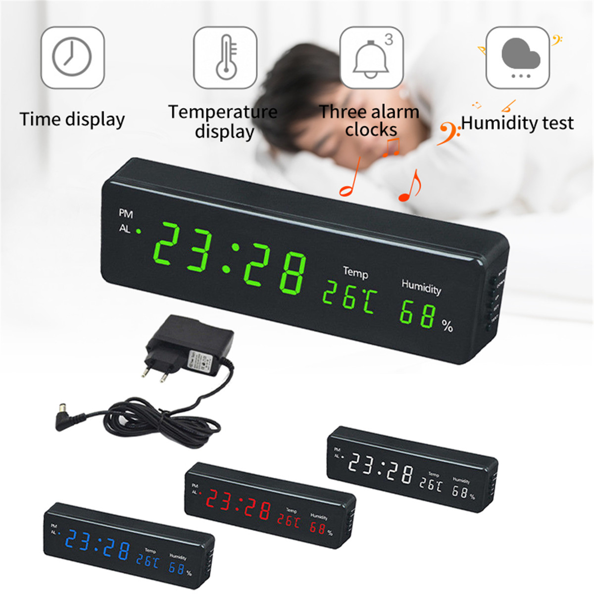 Table Desk Digital Clock LED Temperature Humidity Display Electronic Wall Watch Desktop Digital Table Clocks EU Plug Green Blue