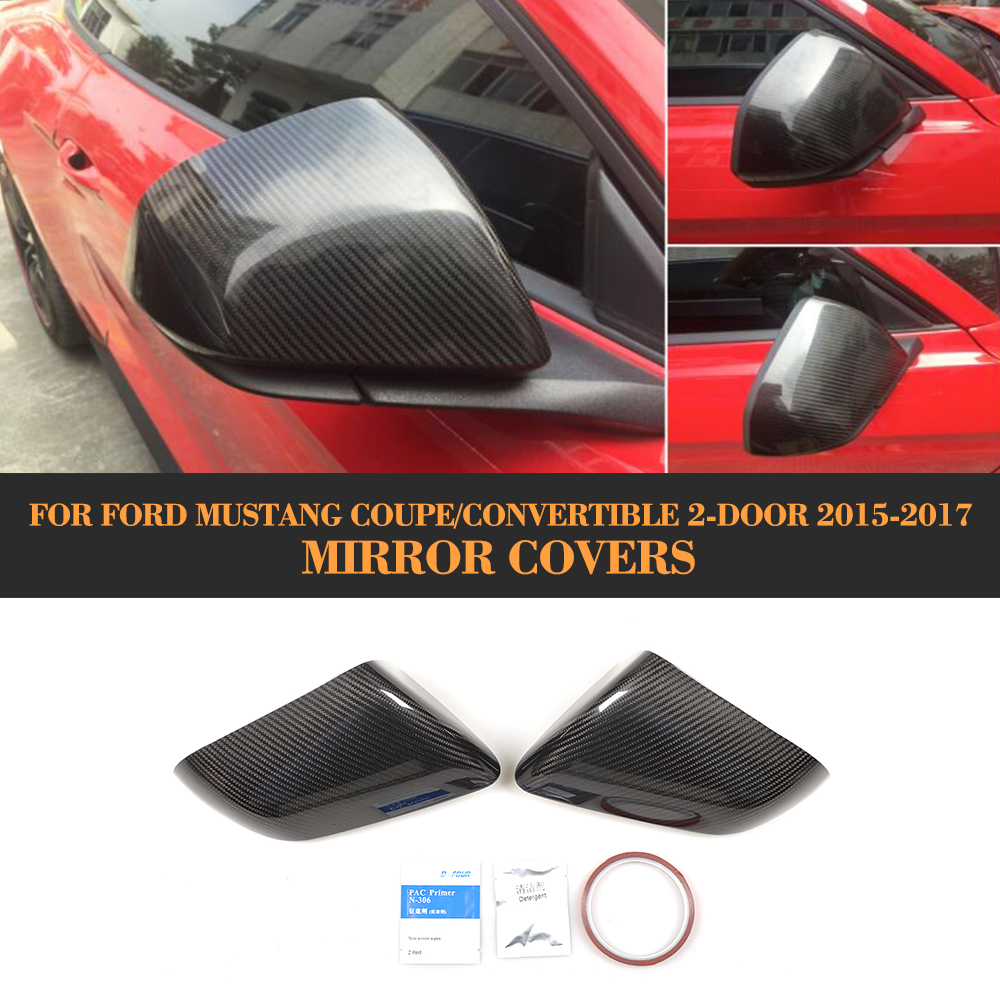 carbon fiber car side rear mirror fender cover for Ford Mustang 2015 UP Add on style