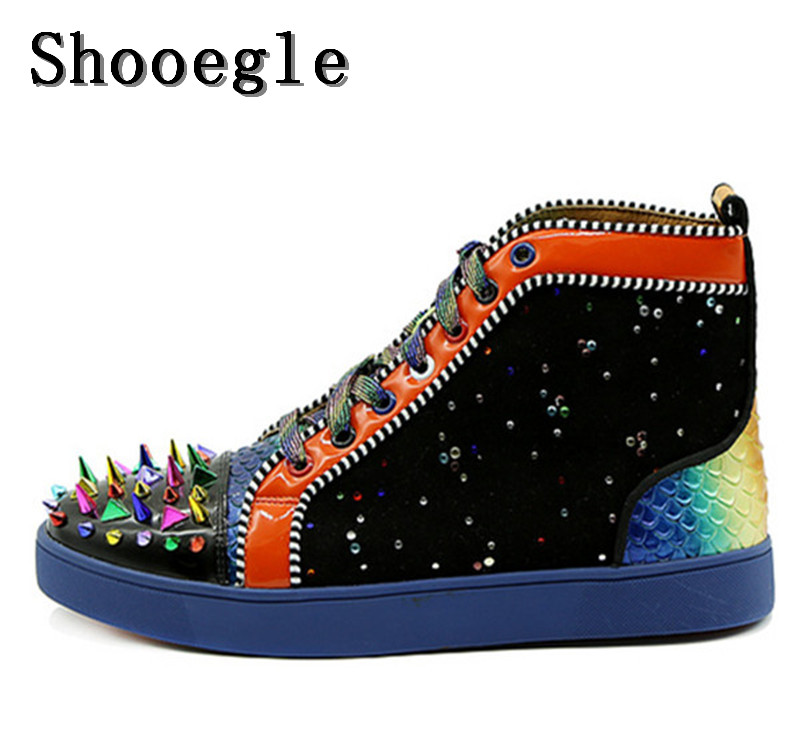 SHOOEGLE Men Spike or Quilt Rivet Lace up Sneaker Fashion Male Shoes High Top Flat Man Camping Casual Shoes Zapatillas Hombre люстра linvel lv 8638 5
