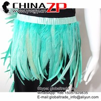 New Arrival! CHINAZP Wholesale Feather Trim Light Blue Beautiful Unique Rooster Tail Feather Fringe for Cosplay