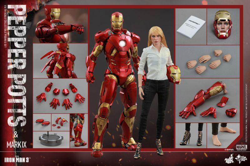 Горячие игрушки; Железный человек 3: 1/6 масштаб Пеппер Поттс и отметьте IX Коллекционные Фигурки комплект
