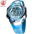 Nova OHSEN 7 Cores LED Backlight Data Alarme Cronômetro Azul Jelly Silicone Relógio de Pulso Meninos Crianças Crianças LCD Relógio Do Esporte Digitais