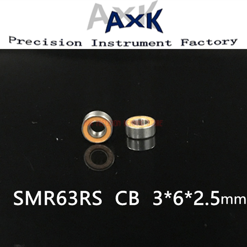 2PC SMR63RS CB C3 ABEC7 <font><b>3x6x2.5mm</b></font> smr63 rs hybrid ceramic si3n4 ball Stainless steel rings <font><b>bearing</b></font> Free shipping 3*6*2.5mm image