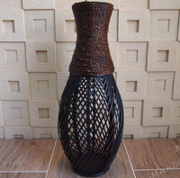 Kingart Large Floor Vase Big Bamboo Large Floor Vase Retro Vintage living Room Home Decor Craft Flower Vase Decoration