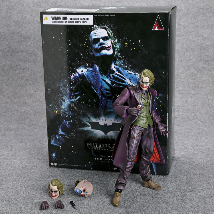 PLAY ARTS KAI Batman The Dark Knight The Joker PVC Action Figure Collectible Model Toy Retail Box WU125 playarts kai batman arkham knight batman blue limited ver superhero pvc action figure collectible model boy s favorite toy 28cm