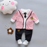 2019 Spring Autumn Korean Boys Girls Small Tie Lapel Long Sleeved + Jacket + Pants 3PCS Kids Bebes Jogging Suit Baby Boy Clothes