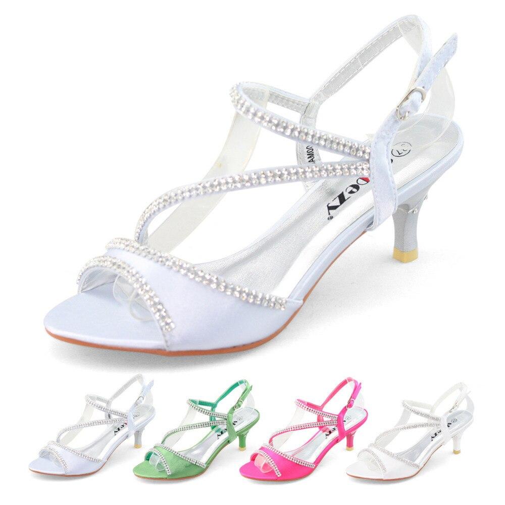 a56205ad2 Shoezy novo salto baixo sapatos de festa de casamento de cetim com strass  diamante com tiras sandália salto fino verde rosa em Sandálias das mulheres  de ...