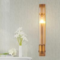 Glass Wall Lamp Post modern Metal Plating led Wall Sconce Hotel Lighting Living Room Bathroom led Mirror Light Long Sconce lamp