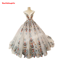 32148 White Crystal Beaded Ball Gown Wedding Dress Grey