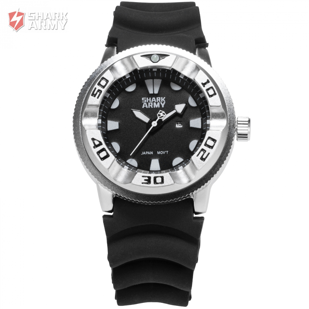 SHARK ARMY Brand Sports Watches Men Black Silicone Band Date Analog Male Military Clock Quartz Casual Wrist Watch Gift / SAW101 fashion top gift item wood watches men s analog simple hand made wrist watch male sports quartz watch reloj de madera