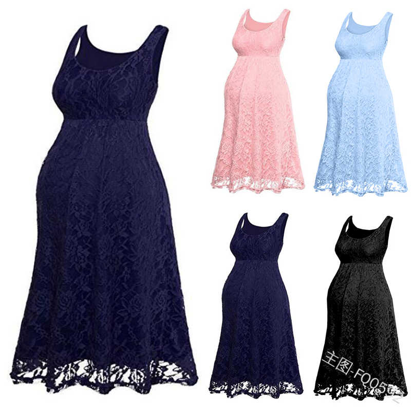 Women Ladies Maternity Dresses Pregnancy Dress Pregnant Dress Floral Lace Overlay Sleeveless Baby Shower Party Cocktail Dress