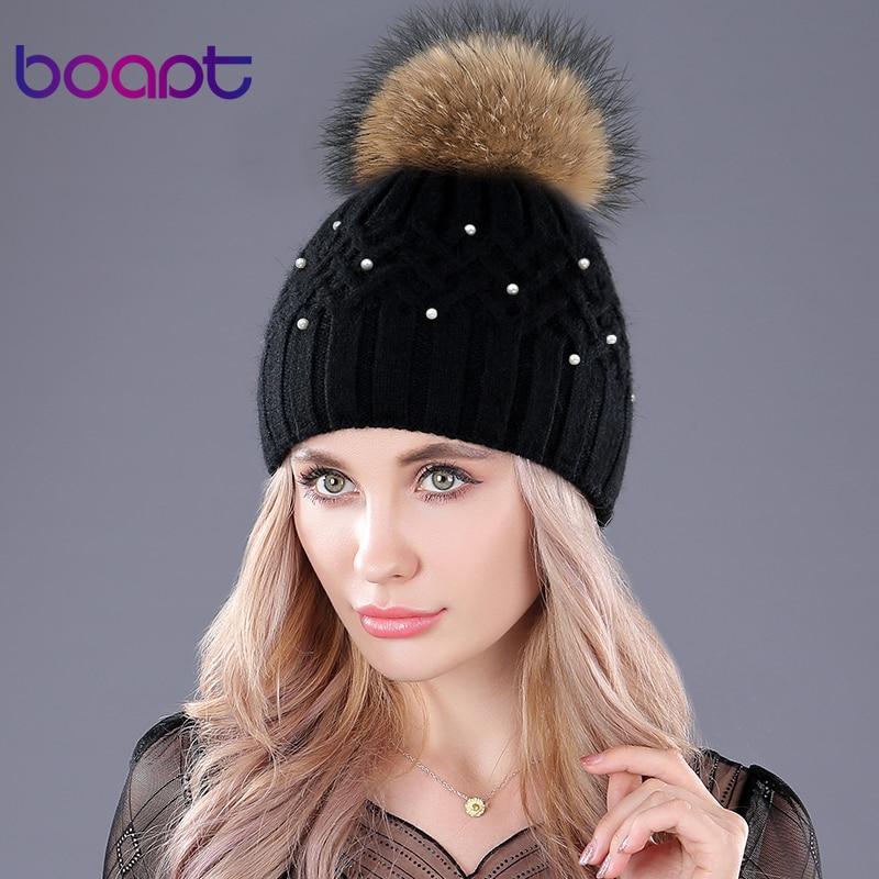 [boapt] Genuine Natural Raccoon Fur Winter Rabbit Double-deck Velvet Hats For Women Pearl Embed Caps Female Skullies Beanies