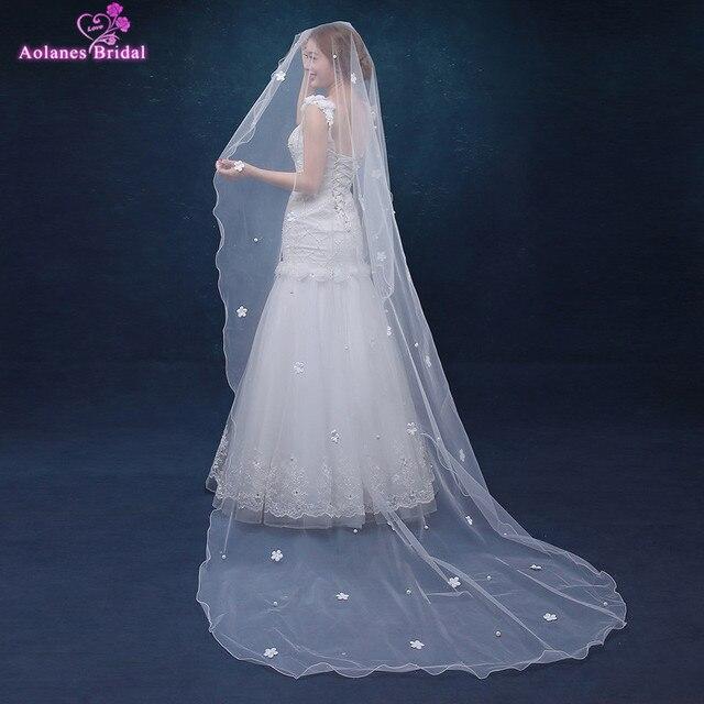 f66a747a51570d Heißer Verkauf Braut Schleier Spitze Rand Kathedrale Elfenbein Schleier  Lange Hochzeit Schleier 3D Blumen Perlen Hochzeit
