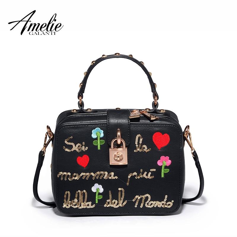 цена AMELIE GALANTI 2017 female Famous Brand handbags Cartoon appliques bag women shoulder flap bags онлайн в 2017 году