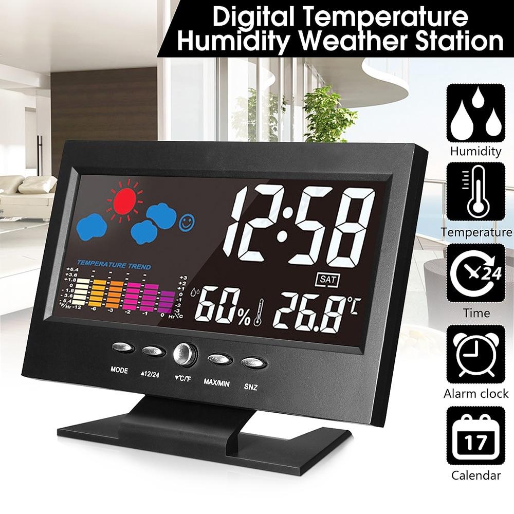 Electrónica Digital LCD reloj de escritorio de temperatura y humedad Monitor reloj termómetro higrómetro pronóstico reloj de mesa