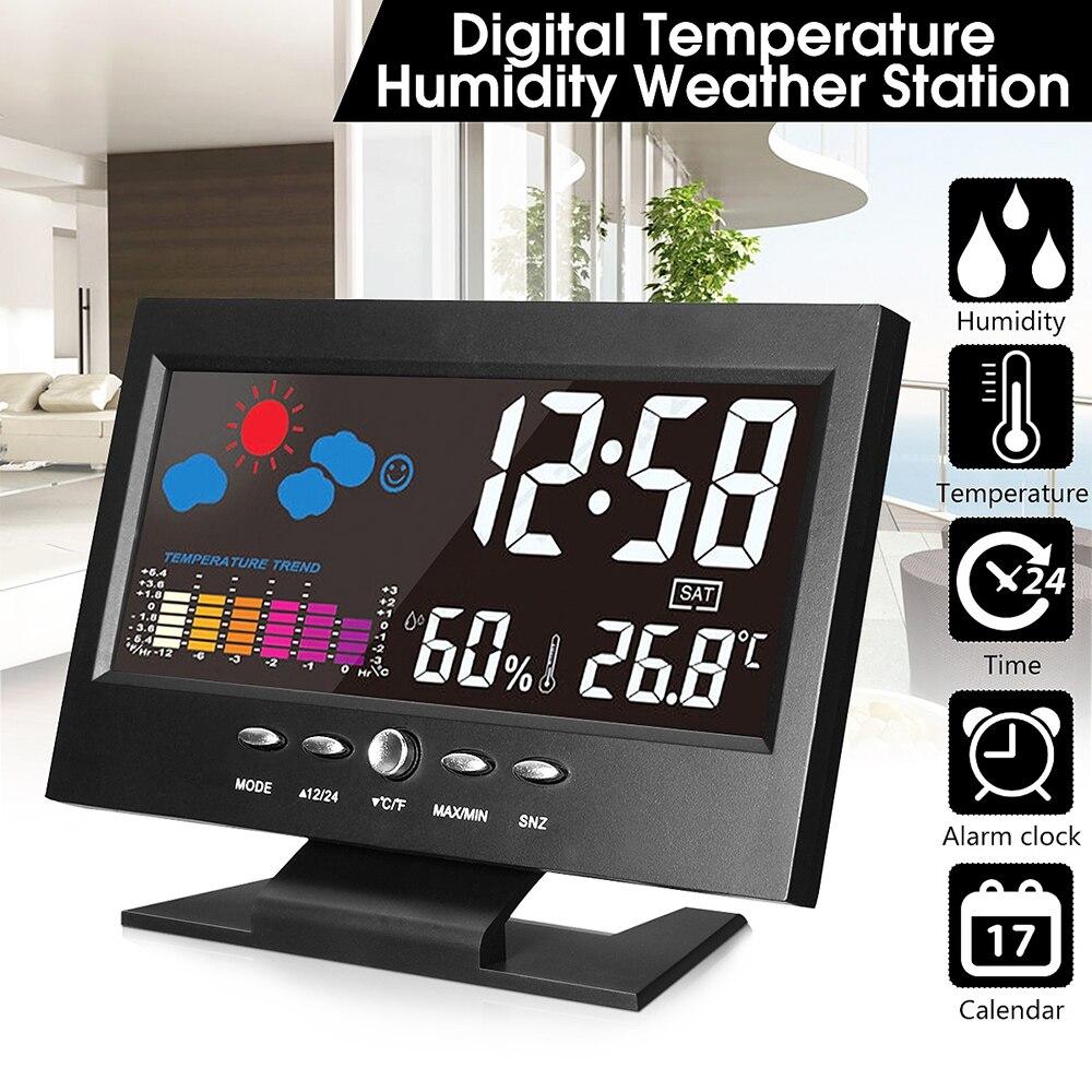 Elektronische Digitale LCD Schreibtisch Uhr Temperatur Feuchtigkeit Monitor Uhr Thermometer Hygrometer Wetter Prognose Tisch Uhr