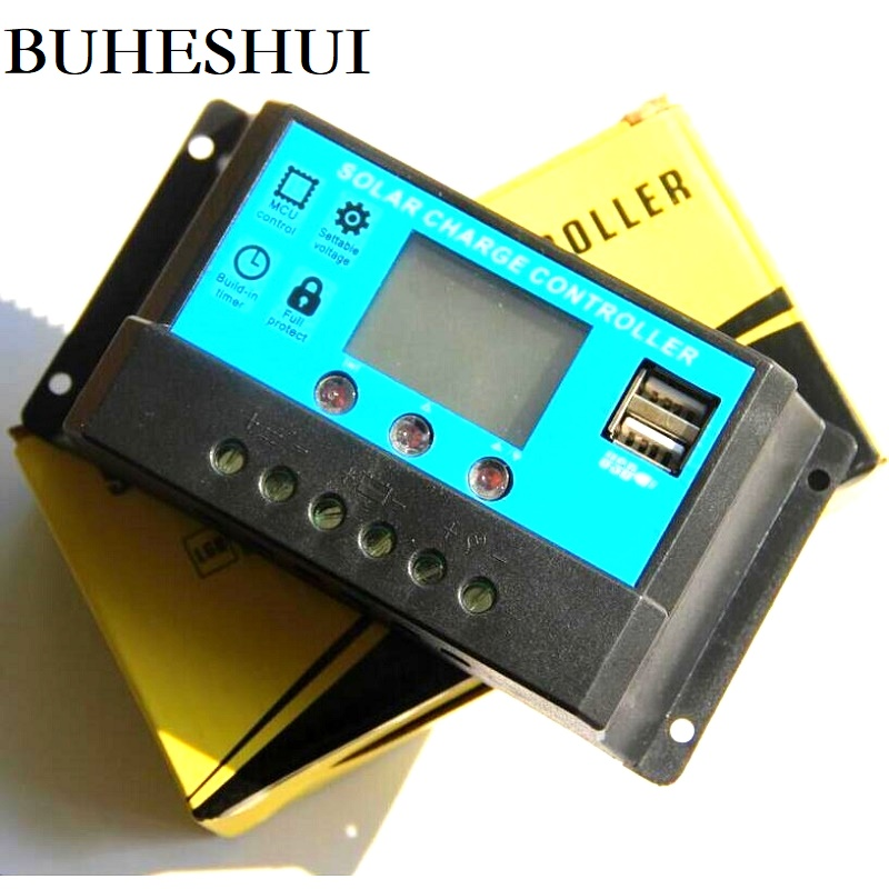 BUHESHUI Wholesale Solar Panel Charger Controller Solar Regulator Battery Home Power System 10A 12V/24V With Dual USB 10pcs/lot