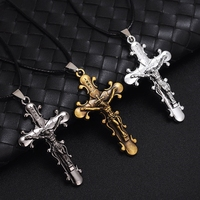 MIC 12pcs Christian Jewelry Gifts Vintage Cross INRI Crucifix cross Jesus charm Pendant Men Leather rope Necklace 3color