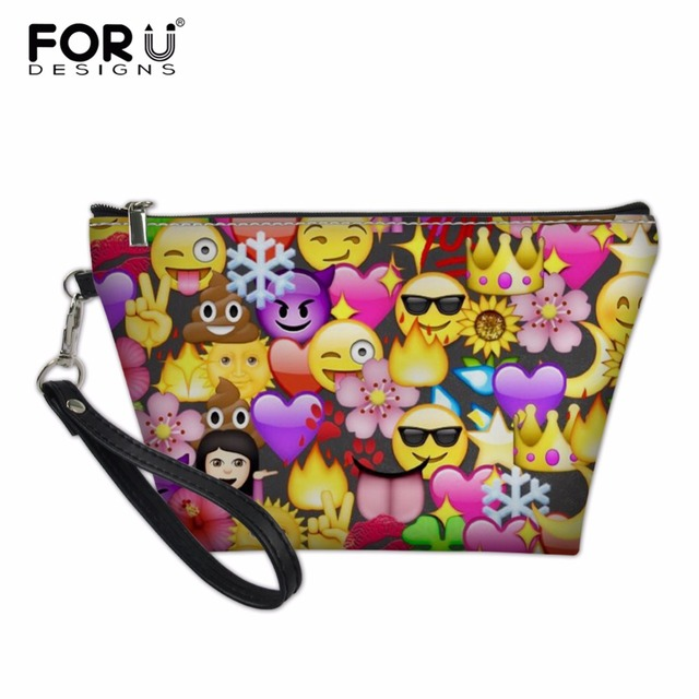 f855d772b119 US $8.31 36% OFF|FORUDESIGNS Women Travel Cosmetic Bag Portable Emoji  Pattern Make Up Bags Girl Makeup Case Wash Organizer Toiletry Storage  Bags-in ...
