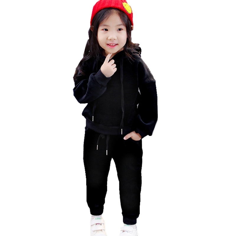 2018 New Spring Children Boys Girls Clothes Suits Kids Casual Sports Sets Long Sleeve Hooded Tops+Pants 2Pcs Fashion Kids Suits