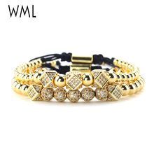 2pcs/set Luxury mens Bracelet Stacks CZ gold Charms beads Macrame handmade wrap bracelets & bangles for accessories