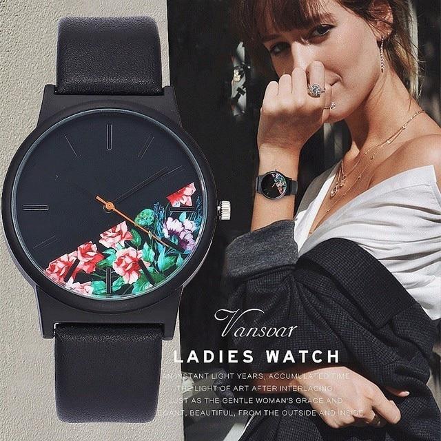 Vansvar Vintage Leather Women Watches 2017 Luxury Top Brand Floral Pattern Casual Quartz Watch Women Clock Relogio Feminino Hot
