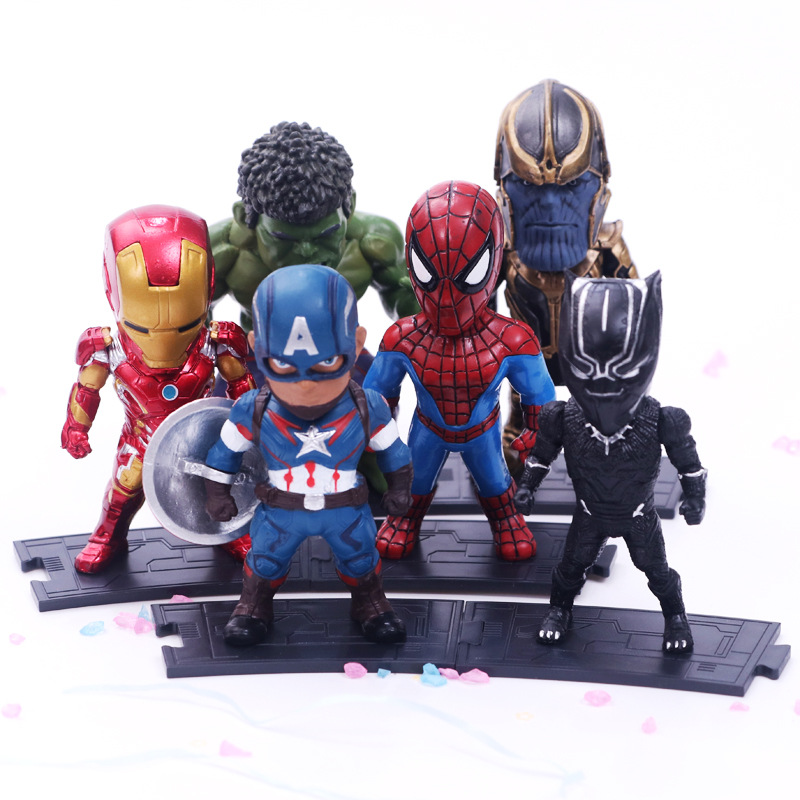 6pcs/set Marvel Avengers : Infinity War Thanos Ironman Spiderman Captain American Hulk Black Panther Figure Model Toys