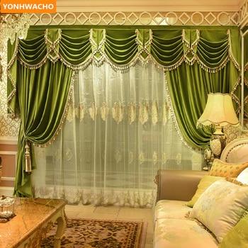 Custom curtains high grade American simple modern green thick France velvet cloth blackout curtain tulle valance drapes N968