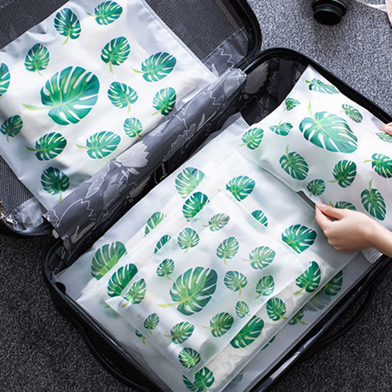 Leaf Print Travel Storage Bags Organizer for Clothes Shoes Underwear Wardrobe Closet Organizer Bags for Clothes Shoe