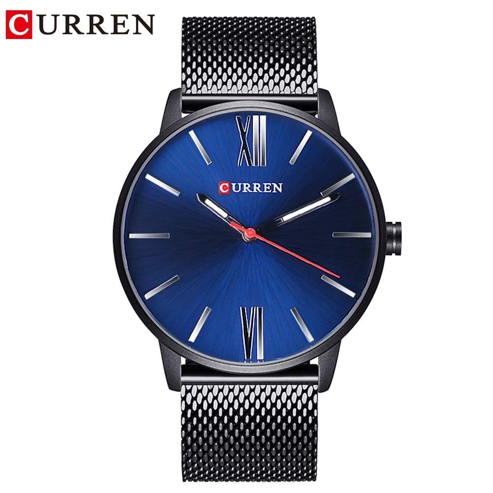 CURREN 2018 Blue Sky Minimalist Design Ultra Thin Case High Quality Mesh Band Men Fashion Quartz Sport Watches Top Brand Luxury in Quartz Watches from Watches