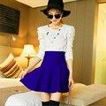 Falda de las mujeres 2016 de Invierno Primavera nueva Moda Coreana plisado Una Línea de falda de talle Alto falda respaldo de punto Sólido Mini falda de femme