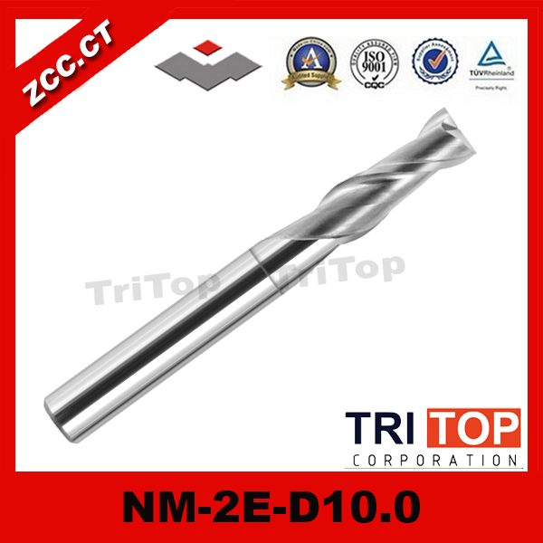 ZCC.CT NM-2E-D10.0 Solid Carbide 2 flute Flattened end mills with straight shank  tungsten milling cutter
