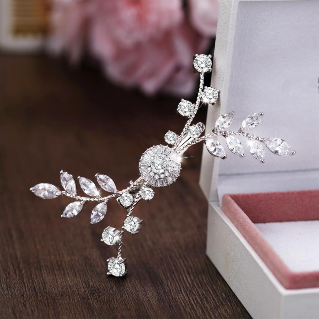 цена Paved Full Zircon Hair Clip All Cubic Zircon Hairpin CZ Bride Hair Jewelry Bridal Headpiece Wedding Hair Accessories WIGO1250