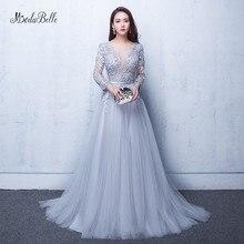 Modabelle 그레이 댄스 파티 드레스 2019 로브 soiree manche longue a 라인 tulle appiques 섹시한 공식 드레스 robe de bal longue