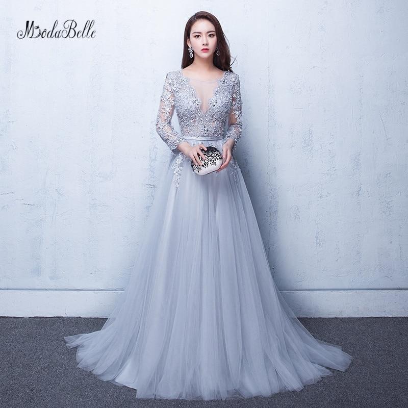 Modabelle gris robes De Bal 2019 Robe De soirée Manche Longue a-ligne Tulle Appliques Sexy Robe formelle Robe De Bal Longue