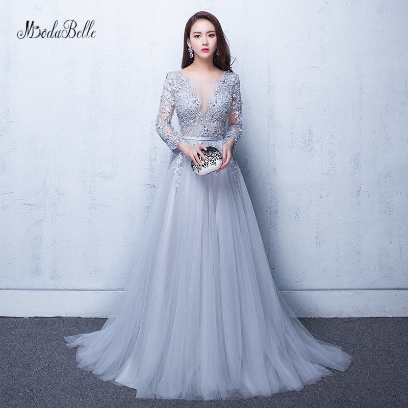modabelle Gray Prom Dresses 2019 Robe Soiree Manche Longue A-line Tulle Appliques Sexy Formal Dress Robe De Bal Longue